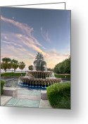 Hospitality Greeting Cards - Pineapple Fountain Sunset - Charleston SC Greeting Card by Drew Castelhano