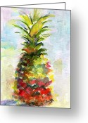 Ginette Fine Art Llc Ginette Callaway Greeting Cards - Pineapple Study Watercolor Greeting Card by Ginette Fine Art LLC Ginette Callaway