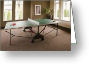 Table Tennis Greeting Cards - Ping Pong Table Greeting Card by Shannon Fagan