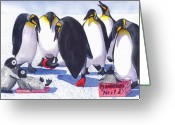 Red Shoes Greeting Cards - Pinguino Heels Greeting Card by Catherine G McElroy