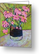 Pitcher Painting Greeting Cards - Pink and Green Greeting Card by Blenda Tyvoll
