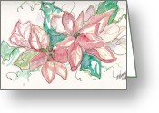 Holiday Notecard Greeting Cards - Pink And Green Greeting Card by Michele Hollister - for Nancy Asbell