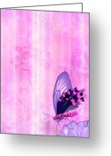 Carpet Painting Greeting Cards - Pink and Purple Butterfly Companions 2 Greeting Card by JQ Licensing