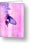 Carpet Painting Greeting Cards - Pink and Purple Companions 1 Greeting Card by JQ Licensing
