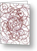 Swirls Drawings Greeting Cards - Pink And Red Abstract Greeting Card by Frank Tschakert