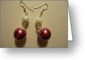 Earrings Jewelry Greeting Cards - Pink and White Ball Drop Earrings Greeting Card by Jenna Green