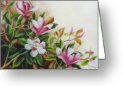 Dominica Alcantara Greeting Cards - Pink and White Magnolias Greeting Card by Dominica Alcantara