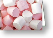 Junk Greeting Cards - Pink and White marshmallows Greeting Card by Jane Rix