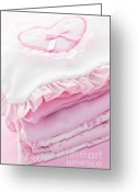 Kids Greeting Cards - Pink baby clothes for infant girl Greeting Card by Elena Elisseeva