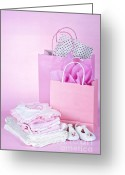 Infant Photo Greeting Cards - Pink baby shower presents Greeting Card by Elena Elisseeva