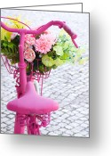 Flowers Greeting Cards - Pink Bike Greeting Card by Carlos Caetano