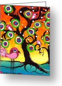 Whimsical Tree Greeting Cards - Pink Birds on a Tree Greeting Card by  Abril Andrade Griffith