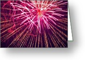Pyrotechnics Greeting Cards - Pink Burst Greeting Card by Paul Mangold