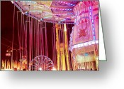 Ferris Wheels Greeting Cards - Pink Carnival Festival Ferris Wheel Night Ride Greeting Card by Kathy Fornal
