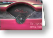Hot Pink Custom Greeting Cards - Pink Chevy Bel Air Glove box and Clockface Greeting Card by Lee Dos Santos