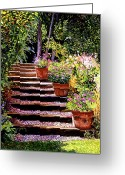 Quality Greeting Cards - Pink Daisies Wooden Steps Greeting Card by David Lloyd Glover