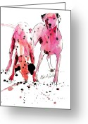 Pink Greeting Cards - Pink Dalmations Greeting Card by Neil McBride