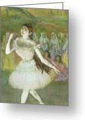 Stage Pastels Greeting Cards - Pink Dancer  Greeting Card by Edgar Degas