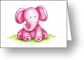Cartoon Elephant Illustration Greeting Cards - Pink Elephant On A Green Lawn Greeting Card by Anna Abramska