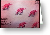 Bicycle Greeting Cards - Pink Elephant On Bicycle #pink #fun Greeting Card by Aviad Rozenberg