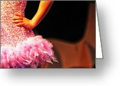 Hand On Hip Greeting Cards - Pink Feather Skirt Greeting Card by Lauri Novak