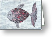 Romania Greeting Cards - Pink Fish Greeting Card by Georgiana Chitac
