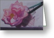 Pen Pastels Greeting Cards - Pink Flower Pen Greeting Card by Philippa Tisdell