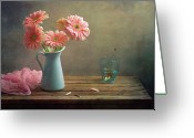 Israel Greeting Cards - Pink Gerberas In Blue Pitcher Jug Greeting Card by Copyright Anna Nemoy(Xaomena)