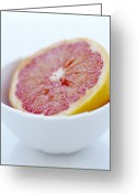 Food And Beverage Greeting Cards - Pink Grapefruit Greeting Card by David Munns