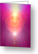 Archangel Greeting Cards - Pink Guardian-Angel Greeting Card by Ramon Labusch