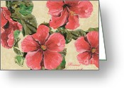 Leaf Painting Greeting Cards - Pink Hibiscus Greeting Card by Debbie DeWitt
