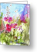Ginette Fine Art Llc Ginette Callaway Greeting Cards - Pink Lavatera Watercolor Painting by Ginette Greeting Card by Ginette Fine Art LLC Ginette Callaway