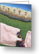 Wind Sculpture Greeting Cards - Pink Linen- CROP-To See Full Image Click View All Greeting Card by Anne Klar