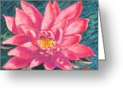 Acrylic Print Greeting Cards - Pink Lotus Greeting Card by Abbie Groves