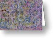 Loose Panicles Greeting Cards - Pink on Blue Greeting Card by Don  Wright