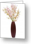 Oriental Flower Greeting Cards - Pink Orchid In Wood Vase Greeting Card by Atiketta Sangasaeng