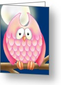 Fall Whimsical Digital Art Greeting Cards - Pink Owl Greeting Card by Gina Graham