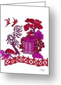 Monotone Painting Greeting Cards - Pink Pagoda Greeting Card by Gail Daley