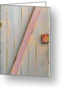 Daniel Sculpture Greeting Cards - Pink Painted Z Door Greeting Card by Asha Carolyn Young
