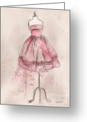 Charcoal Greeting Cards - Pink Party Dress Greeting Card by Lauren Maurer