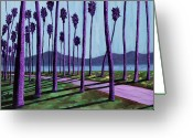 Barbara Painting Greeting Cards - Pink Path Through the Purple Palms Greeting Card by Anne West