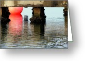 Oysters Greeting Cards - Pink Pearl Pilings Greeting Card by Karen Wiles
