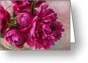 Pink Peonies Greeting Cards - Pink Peonies Greeting Card by Rebecca Cozart
