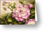 Easter Digital Art Greeting Cards - Pink Peony Greeting Card by Jeri Kelly