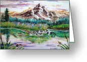Mound Painting Greeting Cards - Pink Pond Greeting Card by Shana Rowe