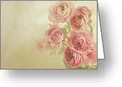 Ranunculus Photo Greeting Cards - Pink Ranunculus Bunch Of Flower Greeting Card by Photography by Angela - TGTG