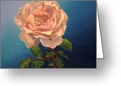 Flower Photographs Painting Greeting Cards - Pink Rose Greeting Card by Elena Melnikova