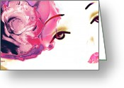 Artography Greeting Cards - Pink Rose Lipstick Girl Greeting Card by Jayne Logan