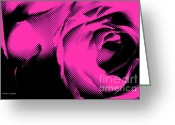 Artography Greeting Cards - Pink Rose Pop Art Greeting Card by Jayne Logan