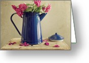 Israel Greeting Cards - Pink Roses And Blue Jug Greeting Card by Copyright Anna Nemoy(Xaomena)